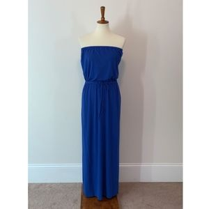 J.Crew Blue Strapless Maxi with Pockets